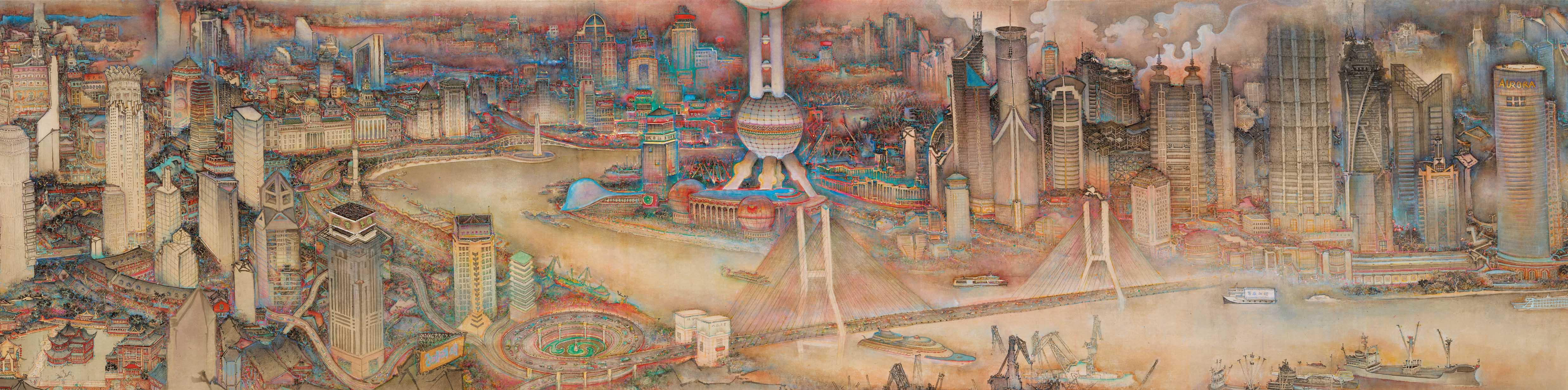 28.New Vista of Shanghai- Color ink-2