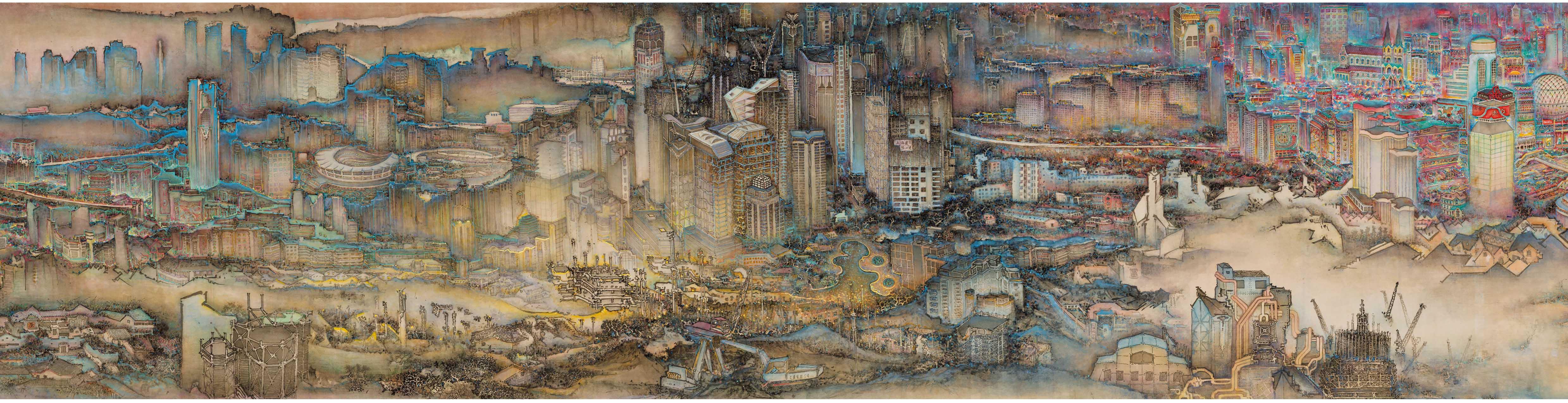 28.New Vista of Shanghai- Color ink-1